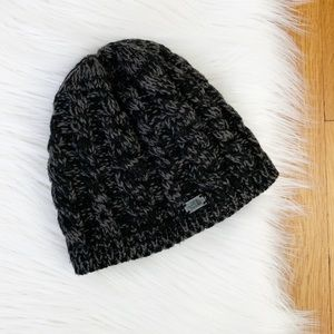 The North Face | Black/Gray Knit Fleece Beanie Hat